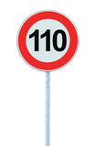 Speed Limit Zone Warning Road Sign, Isolated Prohibitive 110 Km Kilometre Kilometer Maximum Traffic Limitation Order, Red Circle Stock Photo