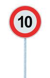 Speed Limit Zone Warning Road Sign, Isolated Prohibitive 10 Km Kilometre Kilometer Maximum Traffic Limitation Order, Red Circle Royalty Free Stock Photos