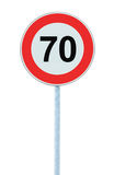 Speed Limit Zone Warning Road Sign, Isolated Prohibitive 70 Km Kilometre Kilometer Maximum Traffic Limitation Order, Red Circle Royalty Free Stock Images