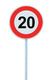 Speed Limit Zone Warning Road Sign, Isolated Prohibitive 20 Km Kilometre Kilometer Maximum Traffic Limitation Order, Red Circle Royalty Free Stock Photography