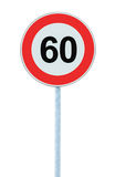 Speed Limit Zone Warning Road Sign, Isolated Prohibitive 60 Km Royalty Free Stock Photos