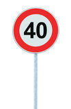 Speed Limit Zone Warning Road Sign, Isolated Prohibitive 40 Km Kilometre Kilometer Maximum Traffic Limitation Order, Red Circle Royalty Free Stock Images