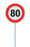 Speed Limit Zone Warning Road Sign, Isolated Prohibitive 80 Km Kilometre Kilometer Maximum Traffic Limitation Order, Red Circle Stock Photos