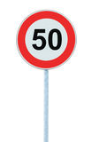 Speed Limit Zone Warning Road Sign, Isolated Prohibitive 50 Km Kilometre Kilometer Maximum Traffic Limitation Order, Red Circle Stock Images