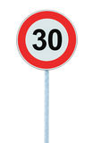 Speed Limit Zone Warning Road Sign, Isolated Prohibitive 30 Km. Kilometre Kilometer Maximum Traffic Limitation Order, Red Circle, Large Detailed Closeup Royalty Free Stock Photos