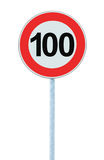 Speed Limit Zone Warning Road Sign, Isolated Prohibitive 100 Km Kilometre Kilometer Maximum Traffic Limitation Order, Red Circle Stock Photography