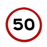 50 speed limitation road sign Royalty Free Stock Image