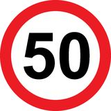 50 speed limitation road sign Royalty Free Stock Images