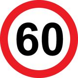60 speed limitation road sign. On white background Royalty Free Stock Images
