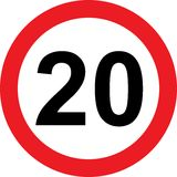 20 speed limitation road sign Stock Photography