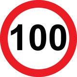 100 speed limitation road sign. On white background Stock Photo
