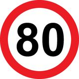 80 speed limitation road sign Royalty Free Stock Photo