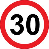 30 speed limitation road sign. On white background Royalty Free Stock Image