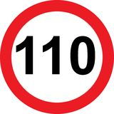 110 speed limitation road sign. On white background vector illustration