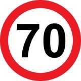 70 speed limitation road sign Stock Photography