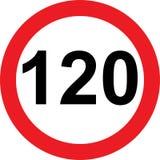 120 speed limitation road sign Stock Photo