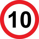10 speed limitation road sign Royalty Free Stock Photos