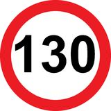 130 speed limitation road sign. On white background Stock Images