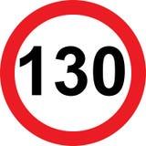 130 speed limitation road sign. On white background stock illustration