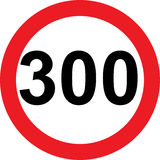 300 speed limitation road sign. On white background Stock Images