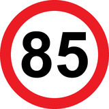 85 speed limitation road sign. On white background Royalty Free Stock Image