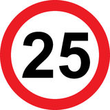 25 speed limitation road sign. On white background Royalty Free Stock Image