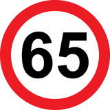 65 speed limitation road sign. On white background stock illustration