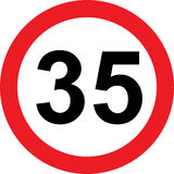 35 speed limitation road sign Stock Images