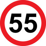 55 speed limitation road sign. On white background stock illustration