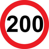 200 speed limitation road sign. On white background royalty free illustration
