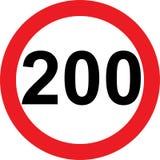 200 speed limitation road sign Stock Photo