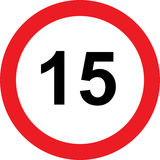 15 speed limitation road sign. On white background Royalty Free Illustration