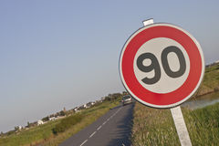 Speed limitation roadsign Stock Photo