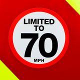Speed limited sign on the back of a vehicle Royalty Free Stock Photo
