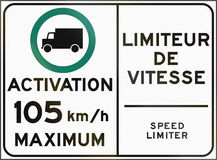 Speed Limiter Activation in Canada. Bilingual regulatory road sign in Quebec, Canada - Activation of speed limiter Stock Photography