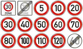 Speed Limits In Germany. Collection of German speed limit and end of restriction signs royalty free illustration