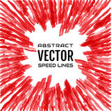Speed line of bright red rays on white background. Festive illustration with effect power explosion. Element of design Royalty Free Stock Photos