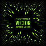 Speed line of green arrows with bright tip, like bullet on black background. Festive illustration with effect power explosion. Element of design. Vector Royalty Free Stock Photos