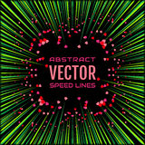 Speed line with green rays and red hearts on black background. Festive illustration with effect power explosion. Holidays element of design. Vector Royalty Free Stock Photo