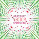 Speed line with green rays and red hearts on white background. Festive illustration with effect power explosion. Holidays element of design. Vector Royalty Free Stock Images