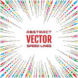 Speed line of multicolored arrows with hard stroke on white background. Festive illustration with effect power explosion. Element of design. Vector Royalty Free Stock Photos
