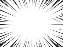 Speed lines. Background of radial speed lines for comic books. Monochrome explosion background.Vector illustration Stock Photos