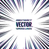 Speed lines with glitch effect on white background. Effect motion lines for comic book and manga. Radial rays from center. Of frame with effect explosion royalty free illustration