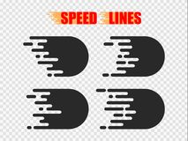 Speed lines isolated. Motion effect. Black lines on white background. Speed lines isolated set. Motion effect for your design. Black lines on white background Stock Photo
