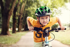 Speed little cyclist Royalty Free Stock Photo