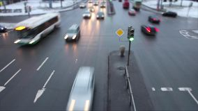 Speed main road. Fast main road traffic Time lapse top view stock video