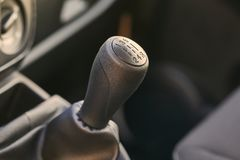 Manual gear stick. 5 speed manual gearbox gear stick royalty free stock photos