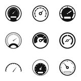 Speed measurement icons set, simple style Royalty Free Stock Image