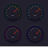 Speed meter Design icons vector illustration in 4 colors. Set of speed meter vector design. Best of use your web icon and Logo Royalty Free Stock Images