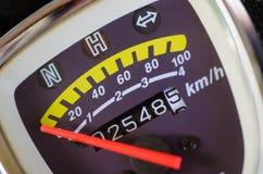 Speed meter kilometer. Speed meter kilometer from little motorcycle Stock Photo
